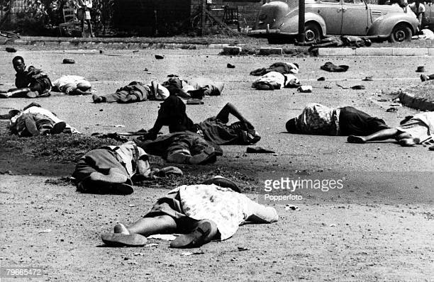 21st March 1960 Sharpville South Africa Dead and wounded Africans lie outside the Sharpville Police Station At least 34 women and men were killed...