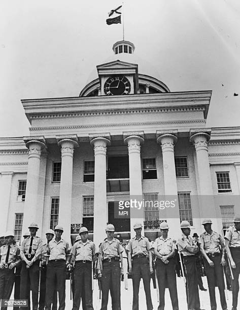 The Capitol Building in Montgomery Alabama is heavily guarded against protestors on the second black voting rights march from Selma Alabama organised...