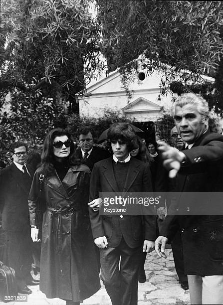Jacqueline Kennedy Onassis at the funeral of her second husband, Greek millionaire shipping magnate Aristotle Onassis, on the Ionian island of...