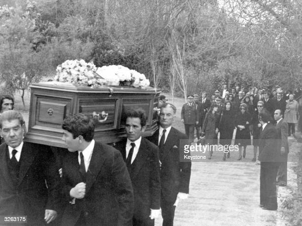Shipping magnate Aristotle Onassis' only surviving child Christina with his three sisters following his coffin to the funeral on the Ionian island of...