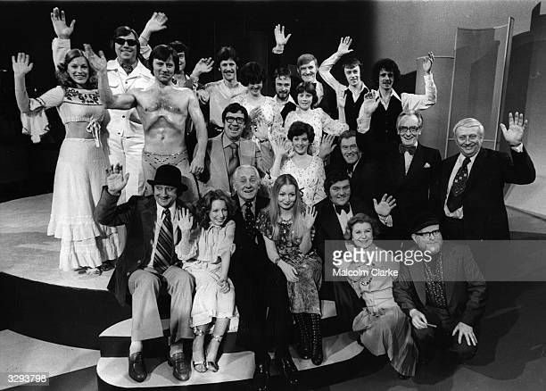 Presenter, Hughie Green , with the star-studded cast of the talent show 'Opportunity Knocks' on its final performance after 16 years.