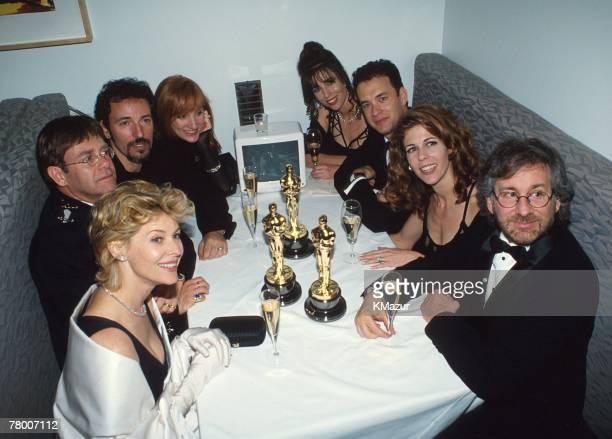 Kate Capshaw, Elton John, and Bruce Springsteen, Patti Scialfa, Tom Hanks, Rita Wilson and Steven Spielberg at the Elton John AIDS Foundation Party,...