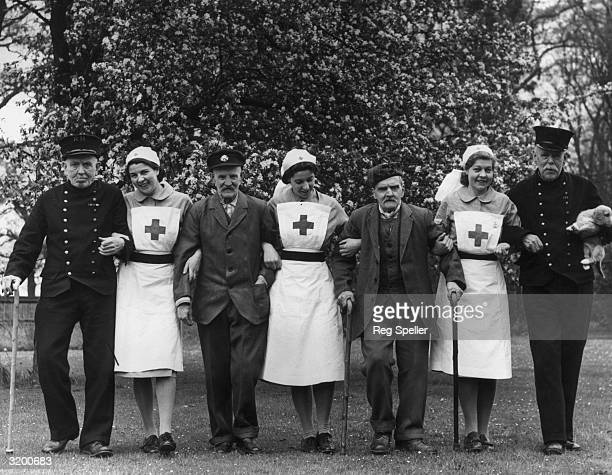 Chelsea Pensioners evacuated to the safety of the English countryside after their usual residence in London is bombed during the blitz. They are...