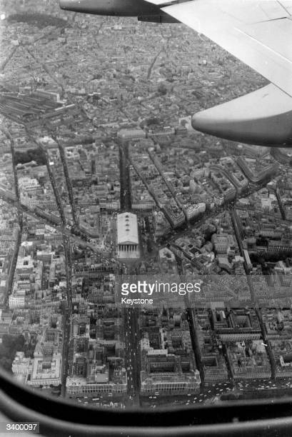 The La Madeleine church in Paris centre viewed from Air France's first Boeing 747 giant passenger aeroplane