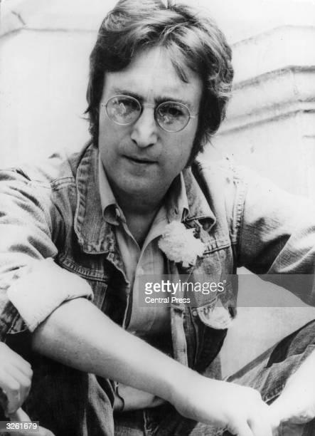 Ex-member of the Beatles, singer and songwriter John Lennon on the beach at Cannes, France.