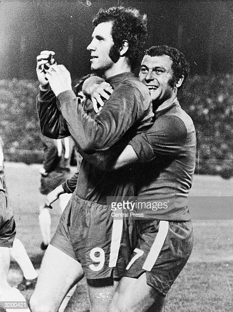 Peter Osgood is congratulated by Keith Weller of Chelsea FC after scoring in the European Cup Winners Cup final against Real Madrid in Athens. Real...
