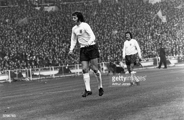 Football player for England, Southampton and Manchester City, Mick Channon, playing in a match at Wembley.