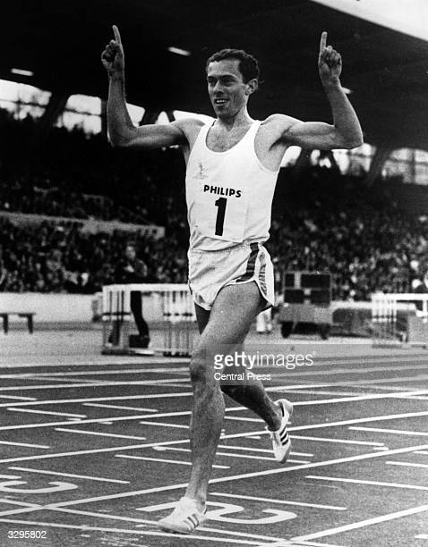 Steve Ovett salutes the crowds at the Phillips International Athletics meeting at Crystal Palace as he coasts to an easy win in the Bannister Mile.