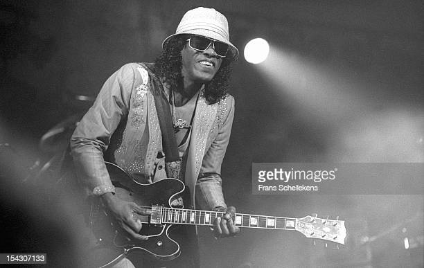 American guitarist and singer Johnny 'Guitar' Watson performs live on stage at the Paradiso in Amsterdam Netherlands on 21st May 1987