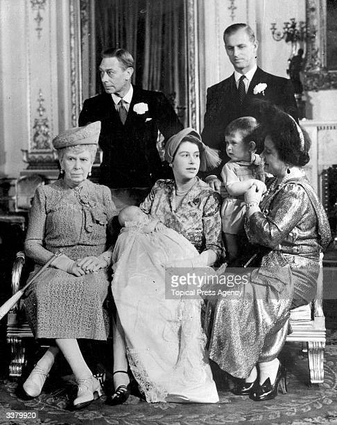Four generations of the British Monarchy in Buckingham Palace after Princess Anne's christening ceremony King George VI and Prince Philip Duke Of...