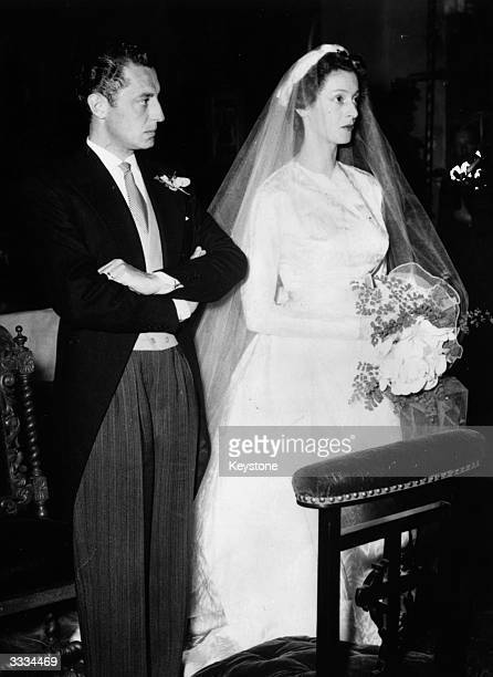 Italian car magnate Gianni Agnelli head of the Fiat motor Organisation marrying Princess Marella Caracciolo daughter of the head of the Italian...