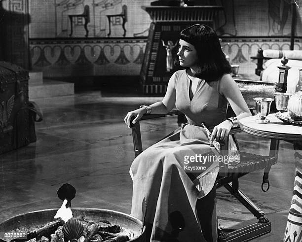 English born American actress Elizabeth Taylor filming 'Cleopatra' in Rome.