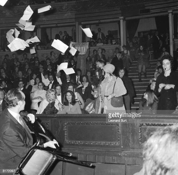 The Miss World contest causes a feminist storm as demonstrators invade the Royal Albert Hall where the contest was held Protestors fired ink at...