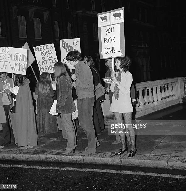 The Miss World contest causes a feminist storm as protestors demonstrate outside the Royal Albert Hall where the contest was held. Some protestors...