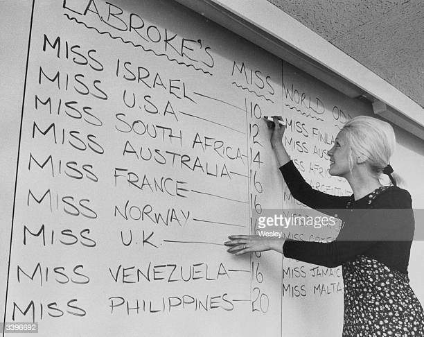 Judith Groves of Ladbroke's in London writes the latest odds for the Miss World contest.