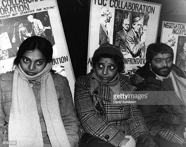 Hunger striking pickets at the Grunwick photoprocessing Laboratory in Willesden London Ms Y Patel Mrs Desai and Johnny Patel They are hoping to fast...