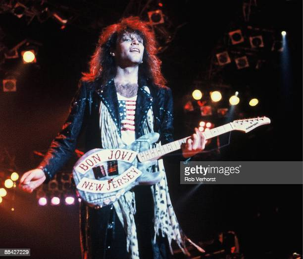 Jon Bon Jovi from Bon Jovi performs live on stage at Ahoy in Rotterdam Netherlands on 21st November 1988