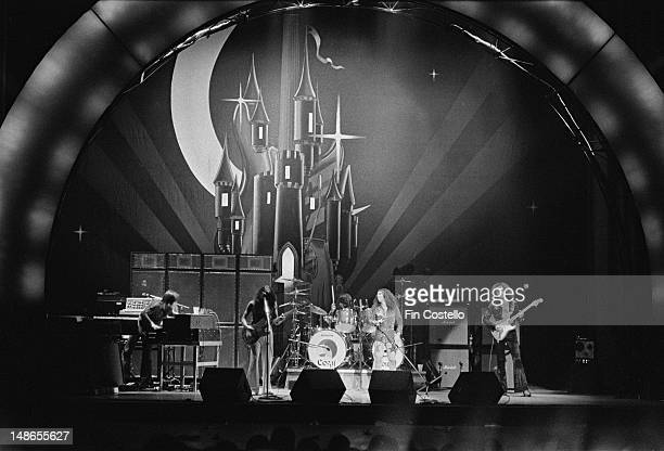 Rock group Rainbow perform live on stage at the Ford Auditorium in Detroit Michigan on 21st November 1975 Left to right keyboard player Tony Carey...