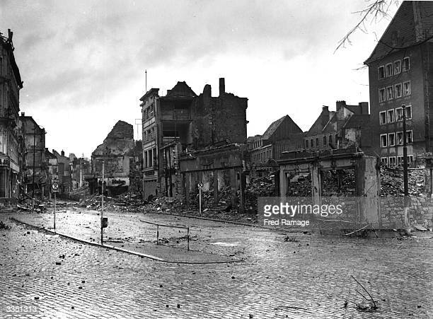 A war damaged street in Aachen which was the first large German city to fall into allied hands after their invasion in WW II The old city of Aachen...