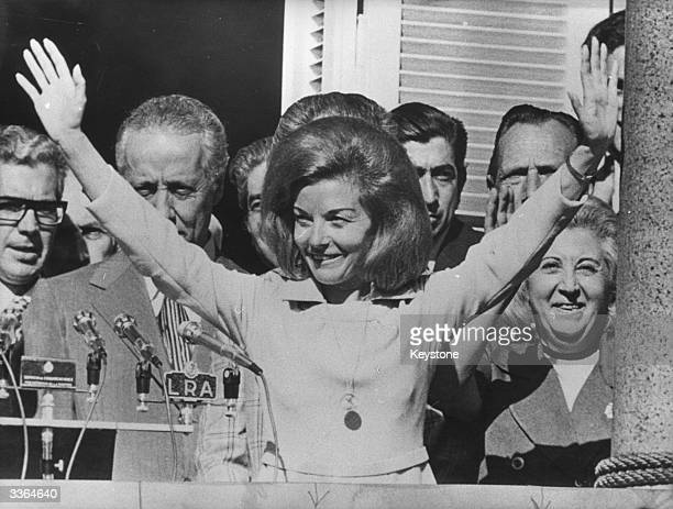 Isabel de Peron president of Argentina making her first speech to the public since returning as president after a month's rest from the balcony of...