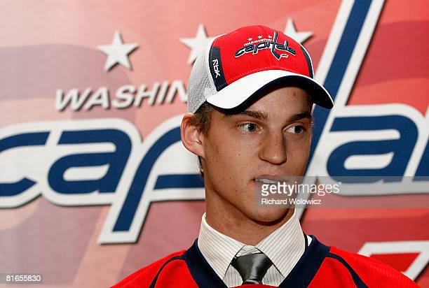 21st overall pick Anton Gustafsson of the Washington Capitals poses for a portrait at the 2008 NHL Entry Draft at Scotiabank Place on June 20 2008 in...