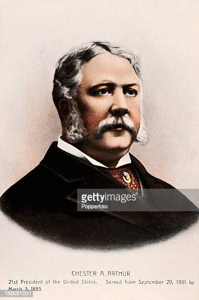 21st President of the United States Chester A Arthur featured on a vintage colour postcard published circa 1900 Arthur served as president of the...