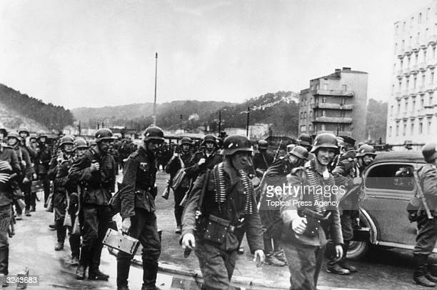 German troops enter the town of Gdynia, a seaport in northern Poland, after the Polish defenders have withdrawn following the German bombardment of...