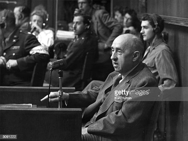 Walter Funk a Press Chief and Minister of Economics in Hitler's government undergoes crossexamination at the Nuremberg War Crimes Trials He was...