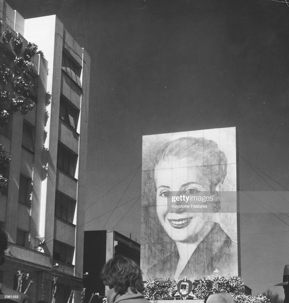 A large poster of Eva Peron (1919 - 1952), wife of the dictator General Juan Peron, in a street in Argentina.