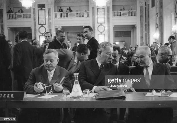 The delegation representing the USSR at the fourth general meeting of the International Atomic Energy Agency at the former Imperial Palace of Vienna...