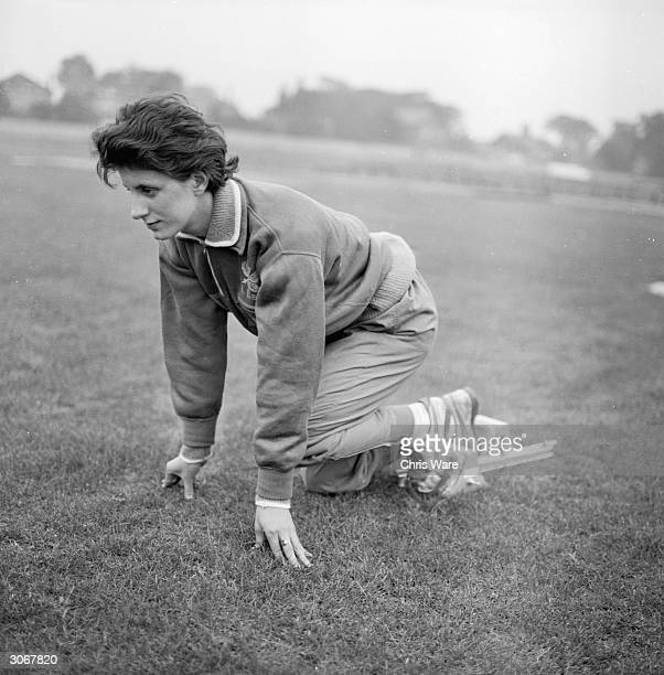 British olympic athlete Dorothy Hyman in training