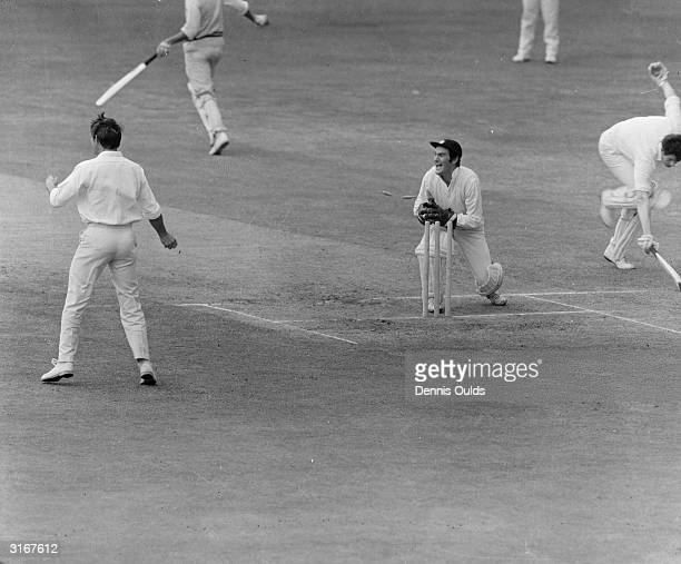 Alan Knott England and Kent wicketkeeper taking a wicket in a match between Kent and Warwick in Gravesend