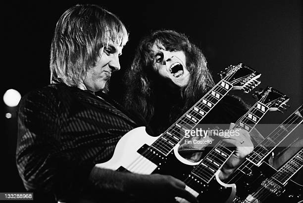 Alex Lifeson and Geddy Lee from Canadian rock group Rush perform live on stage at Bingley Hall in Staffordshire England on 21st September 1979