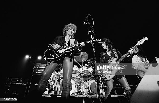 British band Wild Horses perform live on stage at Bingley Hall in Staffordshire England on 21st September 1979 Left to right Brian Robertson bassist...