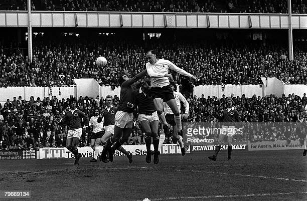 21stApril 1973 Sport Football Tottenham's Alan Gilzean heads past Leicester City's goalkeeper Peter Shilton to score for Spurs in their 1 1 draw at...
