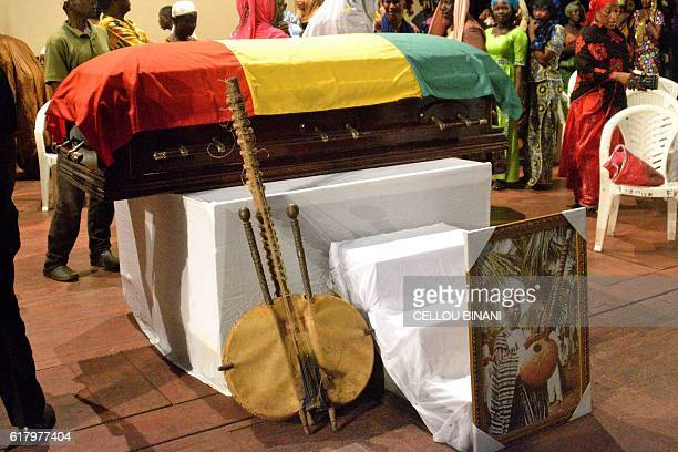 A 21string kora Mandingo style plucked string instrument is placed near the coffin of Ibrahima Kouyate also known M'Bady Kouyate on October 25 2016...