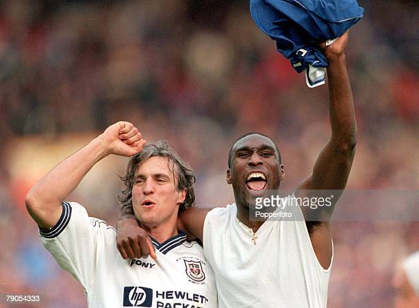 21th March 1999 Worthington Cup Final Wembley Spurs 1 v Leicester 0 Spurs player David Ginola Sol Campbell celebrate after the match