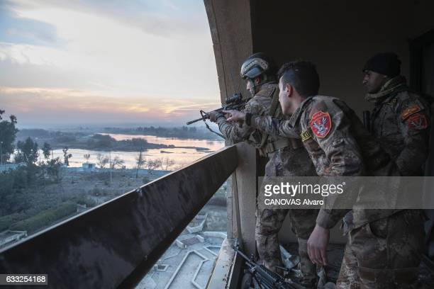 Today the hotel serves as a watchtower and bunker to Iraqi forces on january 21 2017 in Mosul Iraq
