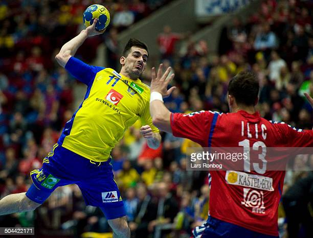 World Championship Malmø Sweden vs. Serbia - Dalibor Doder, Sverige / Sweden - Momir Ilic, Serbien / Serbia. ©Lars Rønbøg / Frontzonesport