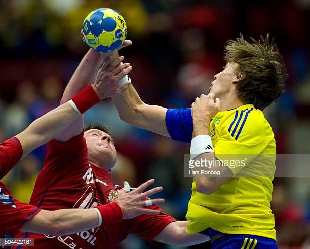 World Championship Malmø Sweden vs. Serbia - Jonas Källman, Sverige / Sweden - Rastko Stojkovic, Serbien / Serbia. ©Lars Rønbøg / Frontzonesport