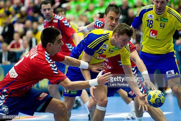 World Championship Malmø Sweden vs. Serbia - Jonas Larholm, Sverige / Sweden - left. Zarko Sesum, Serbien / Serbia - right. Momir Ilic, Serbien /...