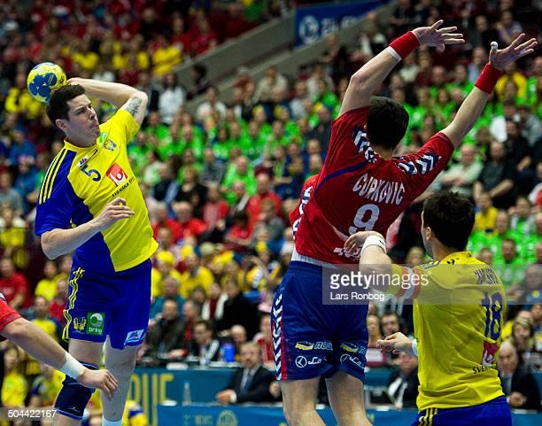 World Championship Malmø Sweden vs. Serbia - Kim Andersson, Sverige / Sweden - Danimir Curkovic, Serbien / Serbia. ©Lars Rønbøg / Frontzonesport
