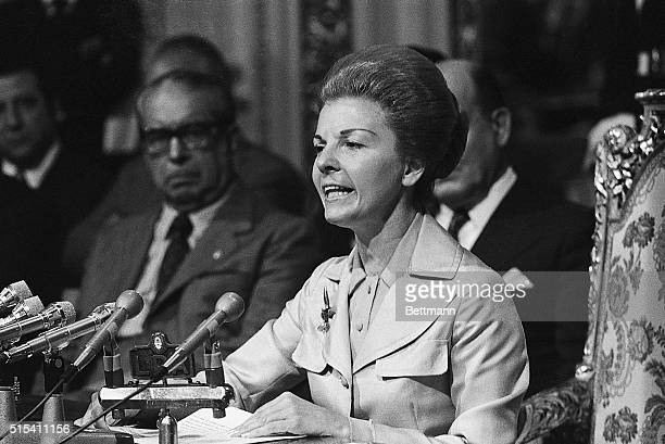 2/20/1975Buenos Aires Argentina Mrs Maria Estela Martinez de Peron President of Argentina delivers a nationwide television address She says she is...