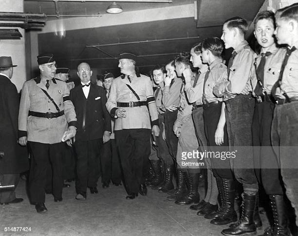 The principal speakers arrive to open the muchpublicized and widely opposed GermanAmerican Bund Americanization rally at Madison Square Garden Left...