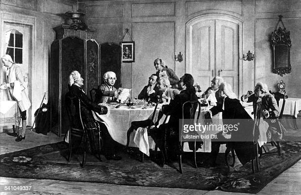 Philosoph, D'Kant mit Tischgenossen um 1786' Mit Immanuel Kant am Mittagstisch versammelt sind : am Bildrand agiert der Diener Lampe; r. U. L. Von...