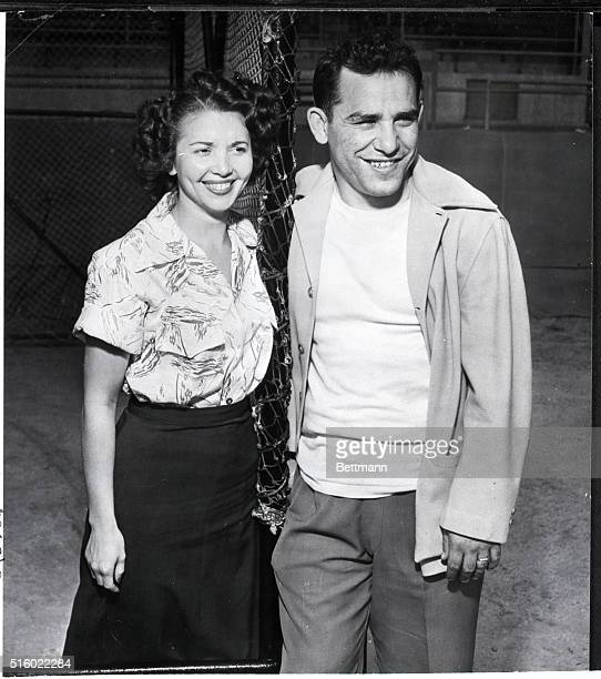 2/21/1949St Petersburg FLNew York Yankee catcher Larry 'Yogi' Berra seen here with his bride of a few weeks announced that he was dissatisfied with...