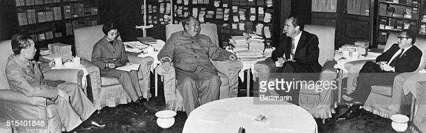 2/21/1972Peking China President Richard M Nixon confers with Chinese Communist Party Chairman Mao Tsetung Others at the historic meeting included...