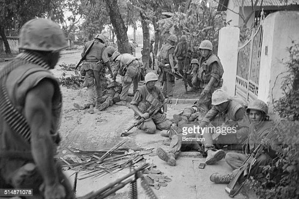 2/2/1968Hue South Viet Nam US Marines tend to their wounded during heavy street fighting in Hue after Communist forces invaded the ancient royal...