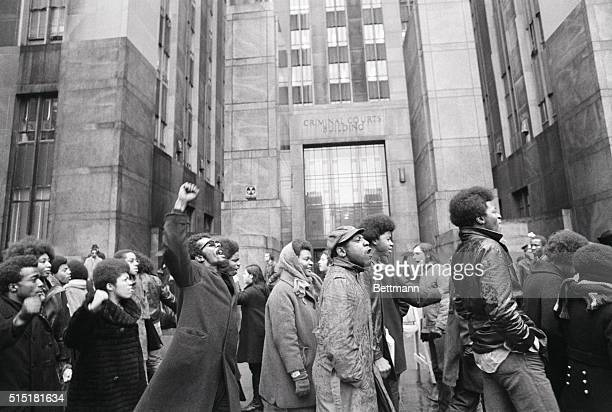 2/2/1970New York NY Gesturing and shouting demonstrators outside New York City Criminal Court protest the trying of 16 Black Panther Party members on...