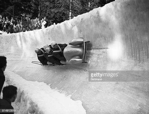 2/22/1952Oslo Norway Germany's No1 Olympic team competes in the fourman bob race at Frognerseteren